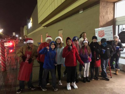 Students ring salvation army bell